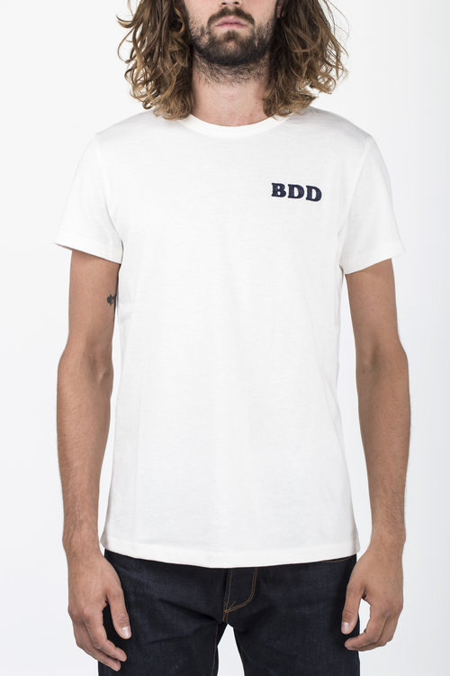 BT-03 BDD EMBROIDERY TEE off white heavy jersey BENZAK DENIM DEVELOPERS