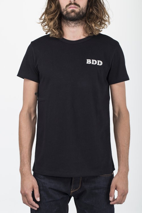 BT-03 BDD EMBROIDERY TEE black heavy jersey BENZAK DENIM DEVELOPERS